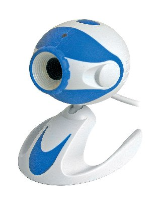 Web kamera Chicony Twincle Cam DC2120 USB 1,1, 300k, 15fps 640x480, Snapshot, Built in mic. White-Blue