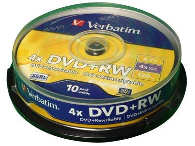 DVD+RW Verbatim 4,7 GB 4X 10/1