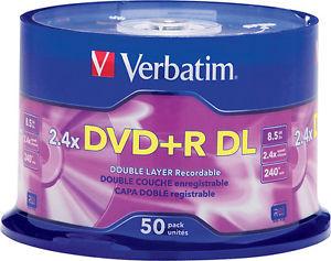DVD+R Verbatim 8,5 GB 2,4X Dual Layer 50/1