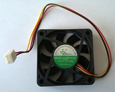Ventilator 60 x 60 x 15 mm, 3 pina, XYJ12S6015H, DC12V, 0,20A