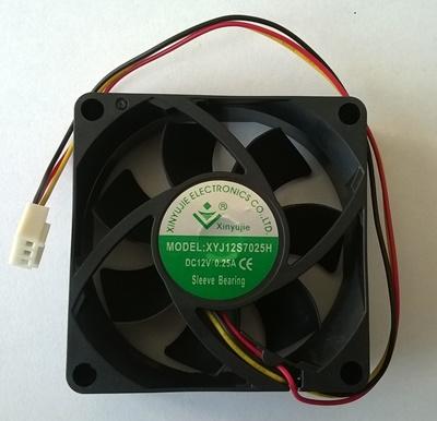 Ventilator 70 x 70 x 25 mm, 3 pina, XYJ12S7025H, DC12V, 0.25A