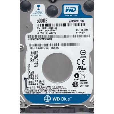 """HDD 2.5"""" WD 500GB WD5000LPCX bulk SATA3 5400rpm"""