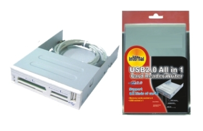 Internal 3,5 multimedia card reader All in 1 w/ front USB, Wiretek, White Hang Pack