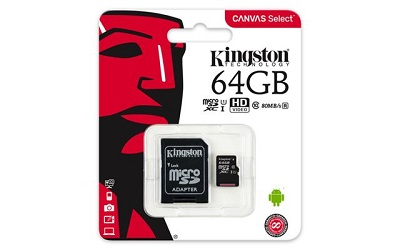 SD Card Micro + adapter 64GB KINGSTON SDCS/64GB Class 10, UHS-I