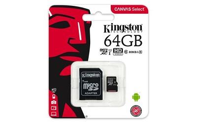 Micro SD Card + adapter 64GB KINGSTON SDCS/64GB Class 10, UHS-I