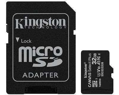 Micro SD Card + adapter 32GB KINGSTON SDCS2/32GB Class 10